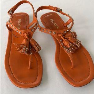 Prada Lacca Studded Thong Sandal Size 9